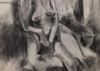 Michaela - Charcoal on cartridge paper - 50cm x 50cm - mounted & framed - £500